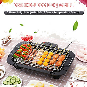 Smoke-less BBQ Grill Electric Griddle Removable Grill Temperature Control Height Adjustable for Indoor Outdoor BBQ