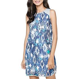 Hình đại diện sản phẩm Đầm Dáng Suông Xếp Ly Vai Hanali - Xanh