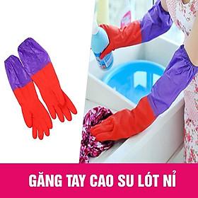 Găng tay rửa bát, găng tay cao su lót nỉ cho mùa đông, găng tay cao su rửa bát, găng tay cao su rửa bát mùa đông