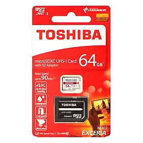 Thẻ Nhớ Micro SD Toshiba Exceria M302 64GB U3 Class 10 - 90MB/s (Kèm Adapter) - Hàng Chính Hãng