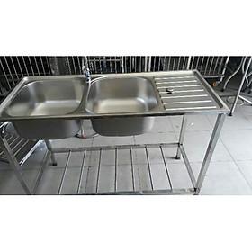 Combo chậu rửa bát BDC3 inox 304 có chân 2 hộc 1 cánh, vòi rửa chén lạnh S6001, bộ xả chậu