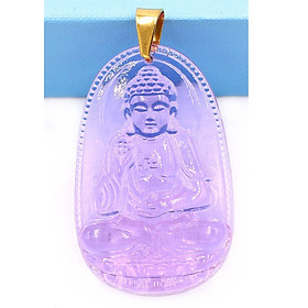 Mặt dây chuyền Phật Bản Mệnh 12 Con Giáp pha lê tím - Mang lại may mắn, bình an