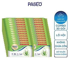 Combo 30 gói Khăn ướt kháng khuẩn Paseo 50 tờ chiết xuất Lô Hội