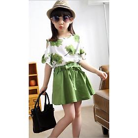 Bộ đồ cho bé gái gồm áo hở vai và chân váy BĐ028