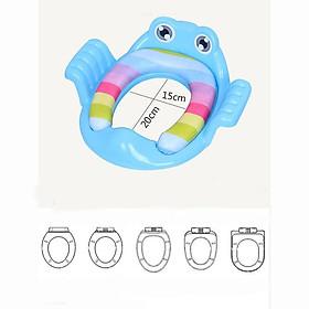 Bệt lót bồn cầu có tay vịn hình chú ếch, thu nhỏ bồn cầu cho bé ngồi vệ sinh ( Giao mầu ngẫu nhiên )