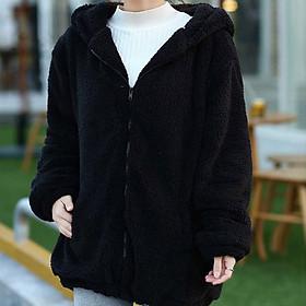 Áo Khoác Nữ Lông Thú Kèm Mũ Trùm Đầu Trắng (Một Size)
