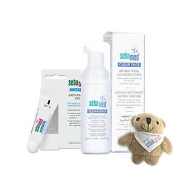 Combo kháng khuẩn trị mụn: sữa rửa mặt (50ml) và gel trị mụn (10ml) Sebamed - tặng kèm gấu bông xinh xắn