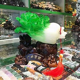 Bắp cải xanh ngọc trên đế gỗ tỳ hưu kéo bao tiền - Quảng Nạp Bách Tài FLN082