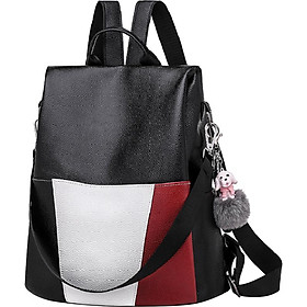 Women's Soft Leather Single Shoulder Bag Dual-style Anti-theft Colour Block Backpack
