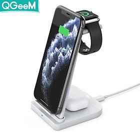 Bộ Đế sạc không dây QGeeM Charging Stand chuẩn Qi 15W kèm Adapter sạc QC3.0 3 trong 1 cho iWatch, AirPods và iPhone - Hàng chính hãng