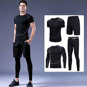 Set 4 in 1 Quần áo gym nam, Quần áo legging nam, Quần áo gym giữ nhiệt nam - Thích hợp tập gym, đá bóng, chạy bộ, bóng rổ hoặc giữ ấm cơ thể - Quần áo tập gym nam chất liệu thun lạnh cao cấp ôm body (SP015)