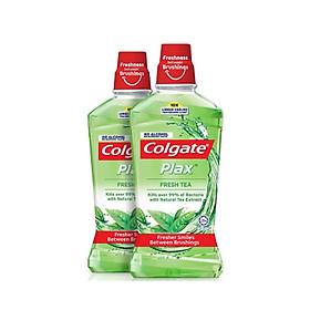 Bộ đôi Nước súc miệng Colgate diệt 99% vi khuẩn Plax trà xanh 500ml/chai