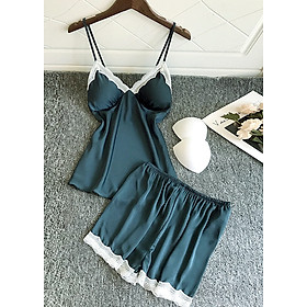 Bộ đồ ngủ hai dây sexy vải lụa phối ren cao cấp kèm mút ngực - ZB2085