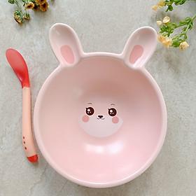 [Tặng Thìa Báo Nóng] Chén Sứ Ăn Dặm Cho Bé Kiểu Nhật Hình Thỏ Hồng