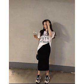 Set áo phông rộng in chữ và chân váy rút dây- mặc được kiểu dài và ngắn theo ý thích- ann9399