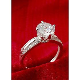 Hình đại diện sản phẩm Nhẫn nữ ổ cao bốn chấu gắn đá kim cương nhân tạo màu trắng Bạc QTJ - NU35(bạc)