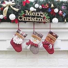 Tất Treo Trang Trí Giáng Sinh Hình Ông Già Noel Người Tuyết Tuần Lộc (3 Cái/Bộ)