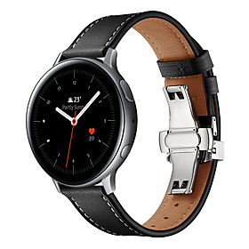 Dây Da Khóa Bướm Bạc Chống Gãy Size 20mm Cho Galaxy Watch Active 1 / Galaxy Watch 42 / Galaxy Watch Active 2