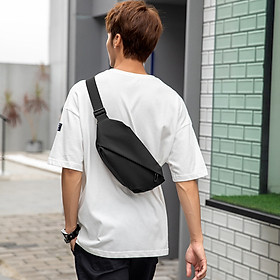 Túi đeo chéo nam túi bao tử đeo ngực vai bụng thời trang cao cấp Yourwish TD43 thiết kế chống nước vải đen trơn mịn cao cấp chống thấm không nhăn xù / túi basic phong cách đơn giản hiện đại