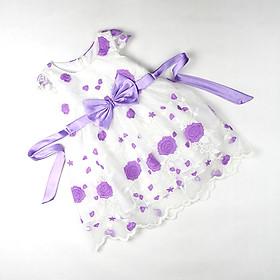 Đầm voan công chúa nhiều lớp thêu hoa tím cho bé gái 1-9 tuổi từ 12 đến 30 kg 03791
