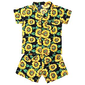 Đồ Mặc Nhà (Ngủ) Pijama Thái Vải Kate Họa Tiết Hoa PijamaThaiKate60 - Đen Họa Tiết Vàng