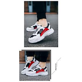 Giày Nam Thể Thao Sneaker Trắng Vải Dệt Đế Cao Su Nguyên Khối Siêu Êm Chân Phối Đen Đỏ Cực Chất Phong Cách Hàn Quốc (Hình thật) CTS-GN052-15