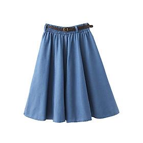 Chân váy Denim kèm thắt lưng chất thoáng mát free size VAY02