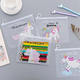 Hộp bút trong suốt hình hoạt hình unicorn, báo hồng loại to (17cm x 21cm)