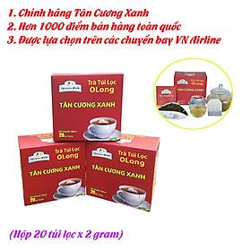 Trà túi lọc olong Tân Cương Xanh - Trà ô long túi lọc thượng hạng, 100% nguyên liệu đọt trà ô long loại ngon, KHÔNG sử dụng hương liệu, chất bảo quản