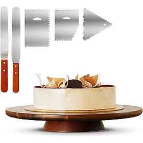 Bàn xoay làm bánh kem bằng gỗ 33cm, Kèm Bộ dao chà láng, dùng làm bánh gato, trang trí tiệc cưới, sinh nhật
