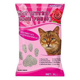 Cát Vệ Sinh Cho Mèo Hương Hoa Hồng - Perfect Cat 5 Lít