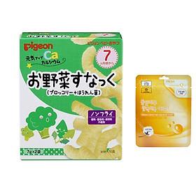 Bánh ăn dặm vị súp lơ và rau chân vịt Pigeon Nhật Bản (Tặng mẹ 1 mặt nạ 3W)