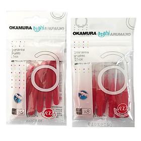 Combo 2 bịch bàn chải kẻ răng Okamura 0.7mm dạng chữ L (1gói 6 chiếc) và chữ I (1gói 8 chiếc)