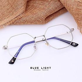 Kính Giả Cận, Gọng Kính Cận Nam Nữ Mắt Lục Giác Gọng Bạc Không Độ Hàn Quốc - BLUE LIGHT SHOP