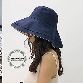 Nón Bucket vải cho nữ vành rộng 12cm phong cách Hàn Quốc mũ tai bèo chống nắng chống tia Uv có thể gấp gọn đội được 2 mặt - Smice House
