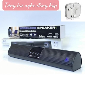 Loa Dài Bluetooth HBH-A2 Cho Máy Tính - Hệ Loa Kép, Âm Thanh Siêu Trầm - Tặng Tai Nghe Nhạc 3.5mm - Hàng Nhập Khẩu