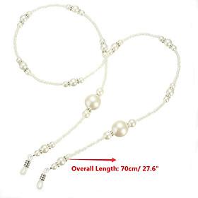White Pearl Beaded Eyeglass Spectacle Glasses Chain Neck Holder Cord Lanyard