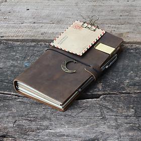 sổ da bò thật Midori màu nâu sáp ngựa điên - Bao gồm bìa da thật và 4 lõi sổ tổng 256 trang đi kèm, thay giấy dễ dàng, kích thước 23cm x12cm