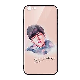 Hình đại diện sản phẩm Ốp lưng KÍNH CƯỜNG LỰC VIỀN ĐEN cho iphone 6 mẫu JI CHANG WOOK FANART - Hàng chính hãng