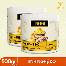Bộ 2 Hũ Tinh bột nghệ đỏ TORO Curcumin - 100% tinh nghệ đỏ từ Dak Lak - 250g/ Hũ