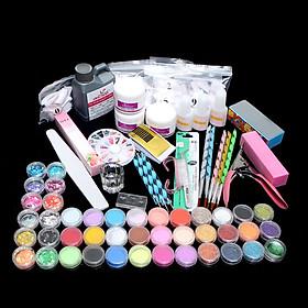 Acrylic Manicure Set Acrylic Powder Glitter for Nail Art Kit Crystal Rhinestone Brush Decoration Tools Kit Manicure