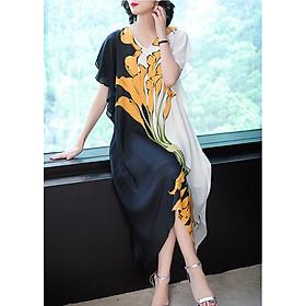 Đầm suông dạo phố kiểu đầm suông trung niên in hoa ly ROMI1578