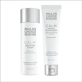 Bộ sản phẩm cân bằng dành cho da  nhạy cảm Paula's Choice Calm Redness Relief SPF 30 Moisturizer Dry và Calm Redness Relief Toner Oil