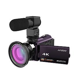 Máy Ảnh Andoer 4K 1080P 48MP Wifi Zoom 16X Với Ống Kính Macro Góc Rộng 0.39X + Micro Ngoài + Đèn LED + Túi Máy Ảnh
