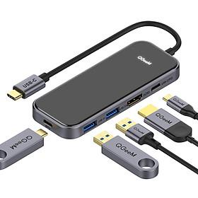 Bộ Hub USB C QGeeM 5 trong 1 4K USB C sang HDMI, 2 x USB 3.0, 1 x USB-C 3.0, 1 x USB-C 100W PD Charger tương thích với MacBook Pro 2019/2018 IPad Pro, Chromebook, XPS, Type-C Adapter - Hàng Chính Hãng