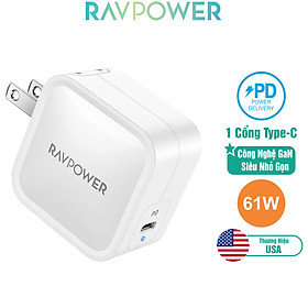 Adapter Sạc 1 Cổng Type-C 61W Công Nghệ GaN Hỗ Trợ Sạc Nhanh PD Power Delivery RAVPower RP-PC112 Với Đầu AC Gập - Hàng Chính Hãng