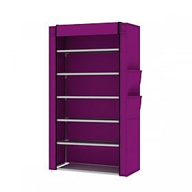 Tủ giày dép 7 tầng 6 ngăn có vải bọc chống bụi bẩn, cửa cuốn, kéo khóa