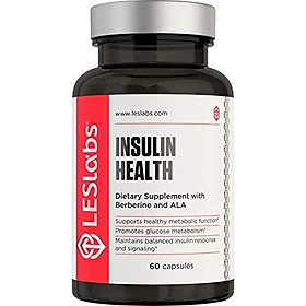 LES Labs Insulin Health, Blood Sugar Support Supplement for Metabolic Health, Healthy Weight, Safe for PCOS & Diabetics with Berberine & Chromium, 60 Capsules