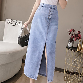 Chân váy jean dài nút lệch xẻ tà C125