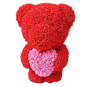 Gấu Hoa Hồng Ôm Trái Tim Dễ Thương Làm Quà Cho Bạn Gái